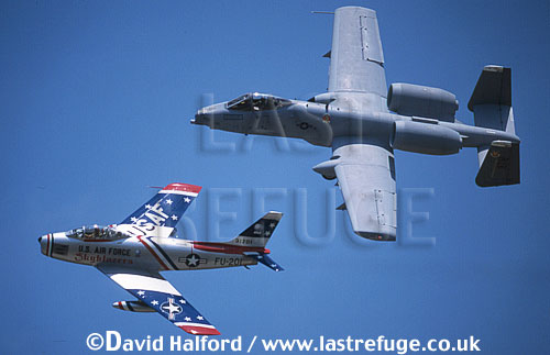 Republic Fairchild A-10A Thunderbolt II from Davis Monthan Air Force Base (AFB) with F-86 Sabre (flown by Dale Snodgrass), Naval Air Station NAS) Patuxent River (MD), USA, May 2002