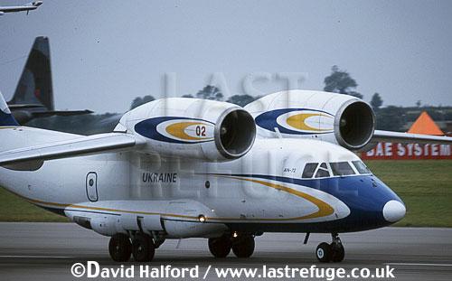 Antonov An-72 / An.72 / An70 Coaler, Ukrainian Civil Aircraft, landing, Royal International Air Tattoo (RIAT), RAF Cottesmore, UK, July 2001