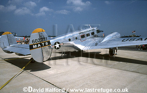 Beech C-45 / C.45 / C45 Expediter, (Beech Model 18) (602271), MATS livery, on static, Naval Air Station (NAS) Patuxent River, Maryland (MD), USA, May 2001