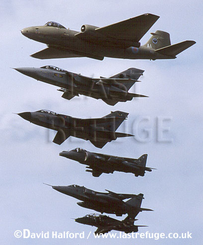 English Electric Canberra PR.9 / Canberra PR-9 / Canberra PR9 and 5 other RAF aircraft types, flying, (vertical photograph), Royal International Air Tattoo (RIAT), RAF Fairford, UK, date ?