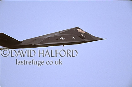 Lockheed Martin F-117A / F.117A / F117A Night Hawk, (HO/823), 'Black Sheep', Air Combat Command (ACC), USAF, flying, Dover Air Force Base (AFB), Delaware, (DE), USA, May 2002
