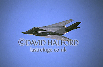 Lockheed Martin F-117A / F.117A / F117A Night Hawk, 'Flying Knights' from Holloman Air Force Base (AFB), Air Combat Command (ACC), USAF, flying, Naval Air Station (NAS) Patuxent River, Maryland, (MD), USA, May 2001
