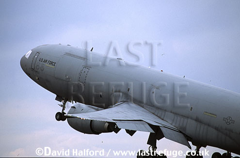 Boeing (McDonnell Douglas) KC-10A / KC.10A / KC10A Extender, 60th Air Mobility Wing (AMW), Air Mobility Command (AMC), USAF, taking off, Royal International Air Tattoo (RIAT), RAF Cottesmore, UK, July 2001