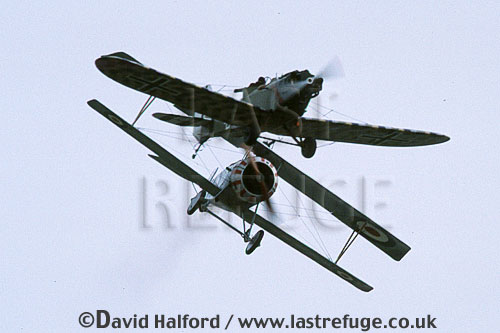 Nieuport Scout Type 17, (B3459), and Junkers CL.1 (both replicas), flying, Royal Naval Air Station (RNAS) Yeovilton, September 2003