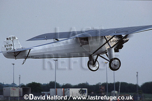 Ryan NYP 'Spirit of St. Louis', (N-X-211/ES-XCL), (modern replica), taking off (just before fatal crash), Classic Airshow, Coventry, UK, 31-05-03