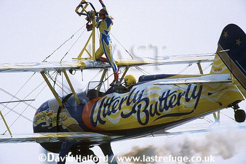 Boeing Stearman 450, of Utterly Butterlys, flying, Biggin Hill Air Fete, UK, June 2002