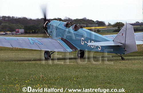 British Aircraft Company (British Klemm) Swallow 2, (G-ADPS?), taxying, Kemble, UK, May 2002