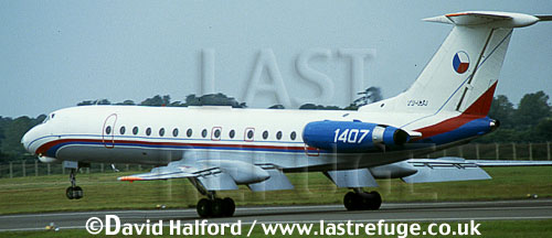 Tupolev Tu-134A / Tu.134A / TU134A Crusty, (1407), Czechoslovak Air Force, landing, IAT RAF Fairford, UK, July 1991