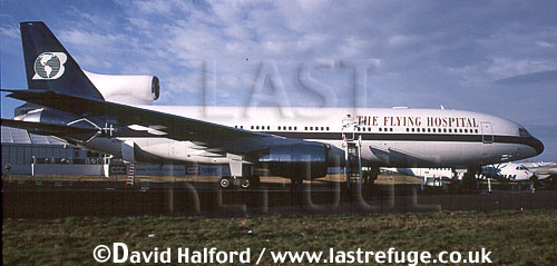Lockheed TriStar L1011 (385), Flying Hospital, on static, Farnborough, UK, date ?