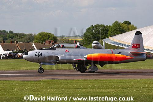 Lockheed CT-133 T-Bird (21261) of RCAF landing, Imperial War Museum (IWM), Duxford, U.K.