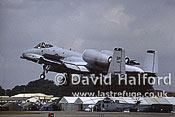 Republic Fairchild A-10A Thunderbolt II of USAF Europe landing, International Air Tattoo (IAT), RAF Fairford, UK, July 1995