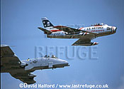 Republic Fairchild A-10A Thunderbolt II from Davis Monthan Air Force Base (AFB) with F-86 Sabre (flown by Dale Snodgrass), Naval Air Station (NAS) Patuxent River (MD), USA, May 2002