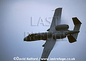 Republic Fairchild A-10A Thunderbolt II, from Davis Monthan Air Force Base (AFB) demonstration team, flying, Naval Air Station (NAS) Patuxent River (MD), USA, May 2002