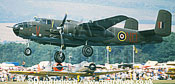 North American B-25 / B.25 / B25 Mitchell, (V-ND), taking off, Great Warbirds, West Malling, UK, September 1990