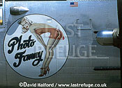 North American B-25 / B.25 / B25 Mitchell, 'Photo Fanny' artwork, on static, Planes of Fame, Chino, California (CA), USA, June 1994