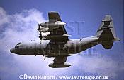 Lockheed EC-130E / EC.130E / EC130E Hercules, US Air National Guard (ANG), flying, Royal International Air Tattoo (RIAT), RAF Fairford, UK, July 1998