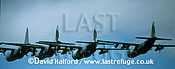 Lockheed C-130 / C.130 / C130 Hercules C.1s x 4, flying in formation, RAF, (R)IAT, RAF Fairford, UK, July 1995