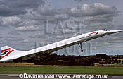 Aerospatiale/British Aircraft Corporation (BAC) or British Aircraft Corporation (BAC)/Aerospatiale Concorde SST, Aerospatiale / British Aircraft Corporation (BAC) or British Aircraft Corporation (BAC) / Aerospatiale Concorde SST, British Airways, taking off, Royal International Air Tattoo (RIAT), RAF Fairford, UK, July 1998