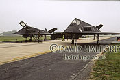 Lockheed Martin F-117A / F.117A / F117A Night Hawks x 2, 'Black Sheep', Air Combat Command (ACC), USAF, parked, Dover Air Force Base (AFB), Delaware, (DE), USA, May 2002