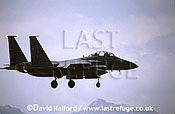 Boeing (McDonnell Douglas) F-15E / F.15E / F15E Strike Eagle, (LN/0322), 492nd FS, USAFE, landing, Aviano Air Force Base (AFB), Italy, May 1999