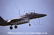 Boeing (McDonnell Douglas) F-15E / F.15E / F15E Strike Eagle, (LN/0321), 492nd FS, USAFE, landing, Aviano Air Force Base (AFB), Italy, May 1999