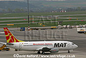 Boeing B.737-3B7 (Z3-AAF) - Macedonian Airlines parked at Flughafen Wien, Vienna's Schwechat Airport, Austria / April 2005
