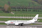 Boeing B.737-3Z9 (OE-ILF) of Lauda-Star Alliance taxying at Flughafen Wien, Vienna's Schwechat Airport, Austria / April 2005