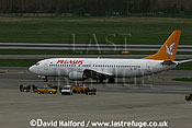 Boeing B.737-4Y0 (TC-APR) of Pegasus taxying at Flughafen Wien, Vienna's Schwechat Airport, Austria / April 2005