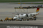Bombardier DHC-8-402 (OE-LGE) of Tyrolean parked at Flughafen Wien, Vienna's Schwechat Airport, Austria / April 2005