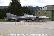 Saab / SAAB J35OE / J 35OE (originally J35D / J 35D) Drakens (01 + 24) of the Oesterreichische Luftstreitskraefte (Austrian Air Force)'s Ueberwachungsgeschwader (Air Superiority Wing) parked - Zeltweg Air Base, Austria / April 2005