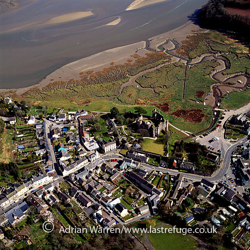 Laugharne Castle, Laugharne, Carmarthenshire, south-west Wales. on the estuary of the River Taff