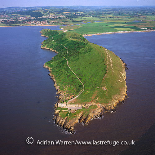 Brean Down is a promontory off the coast of Somerset, into the Bristol Channel between Weston-super-Mare and Burnham on Sea, England