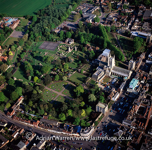 Bury St Edmunds, town, cathedral and abbey, Suffolk, England