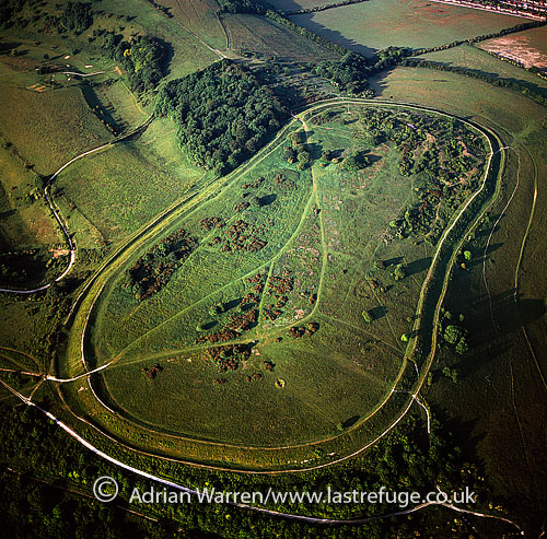 Cissbury Ring, Iron age hill fort, South Downs, Worthing, the largest hill fort in West Sussex, England