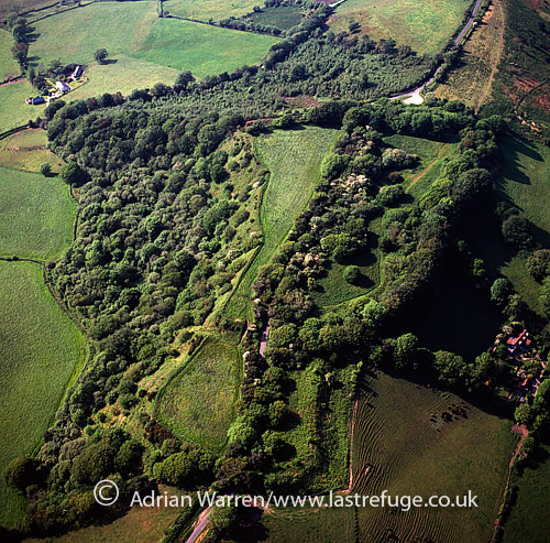 Coney's Castle hill fort, E of Axminster, in Marshwood Vale, NW of Whitechurch Canonicorum, Dorset, England