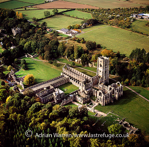 Fountains Abbey, a ruined Cistercian monastery, North Yorkshire, England