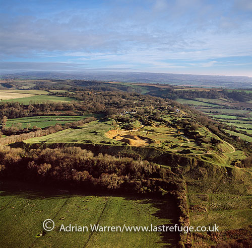 Ham Hill, a geological Site of Special Scientific Interest (SSSI), Iron Age hill fort, Roman site, and country park, west of Yeovil, Somerset, England