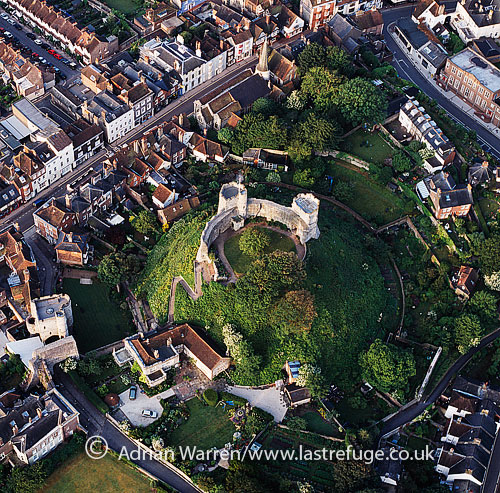 Lewes Castle, on the highest point of Lewes, East Sussex, on an artificial mound built originally of chalk blocks., England