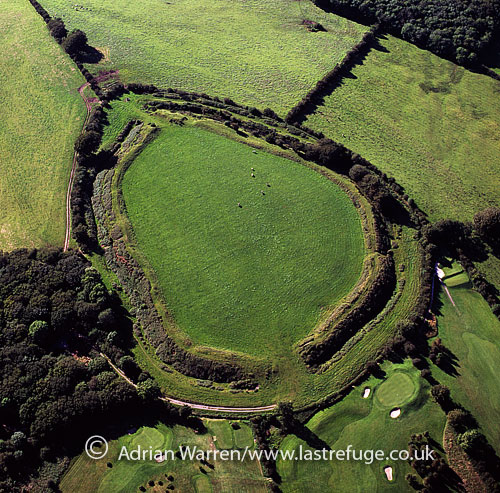 Maesbury Castle, n Iron Age hill fort on the Mendip Hills, just north of Shepton Mallet, Somerset, England