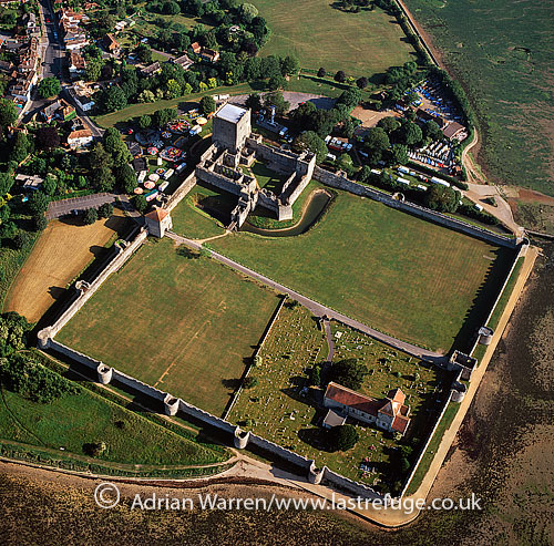 Portchester Castle, a medieval castle and former Roman fort, Portchester, Hampshire, England