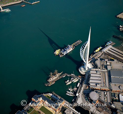 HMS Warrior, Spinnaker Tower and Portsmouth Harbour railway station, Portsmouth Harbour, Hampshire, England