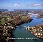 Suspension Bridge on Menai Strait with Britannia Bridge in background, Caernarvon, North Wales , England