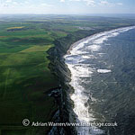 looking NW to Reighton Sands Beach, northwest of Famborough Head, North Yorkshire, England