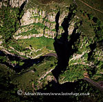 Cheddar Gorge, Mendip Hills, Somerset, the largest gorge in UK, the site of the Cheddar Caves, where Britain's oldest complete human skeleton, Cheddar Man, was found, England