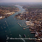 Cowes is an English seaport town on the Isle of Wight. Cowes is on the west bank of the estuary of the River Medina facing the smaller town of East Cowes on the east Bank., England