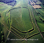 Eggardon Hill. An iron age hill fort, on chalk uplands near Bridport, Dorset, England
