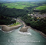 Lynmouth, on the confluence of the West Lyn and East Lyn rivers, in a gorge 700 ft below Lynton, north edge of Exmoor, Devon, England