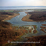 Beaulieu river, Tidal River, just east of Bucklers Hard, Hampshire. The river enters the sea at the Solent, in background., England