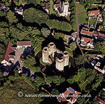 Nunney Castle, French-style castle surrounded by a deep moat, Nunney, Somerset, England