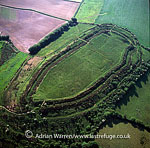 Pilsdon Pen Hll fort, Dorset: an iron age hill fort on a granite outcrop at the border between the chalk of South-East England and the granite of Devon and Cornwall., England